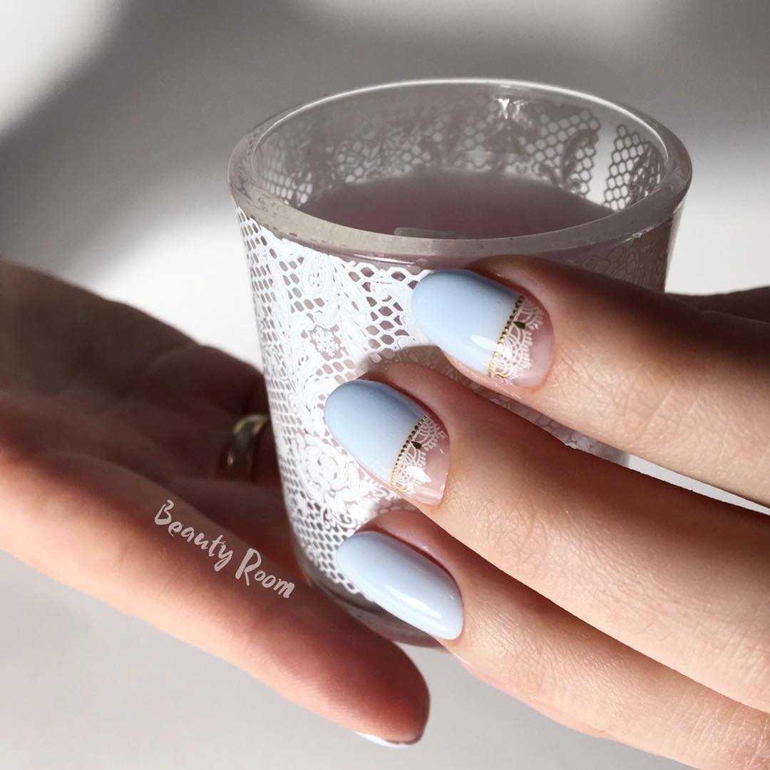 весенний маникюр на круглые ногти