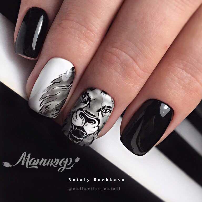 изображения животных на ногтях
