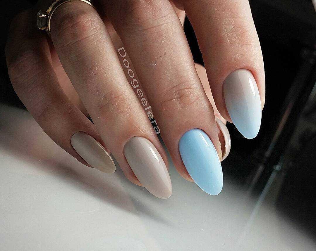 нюдовый градиент на ногтях
