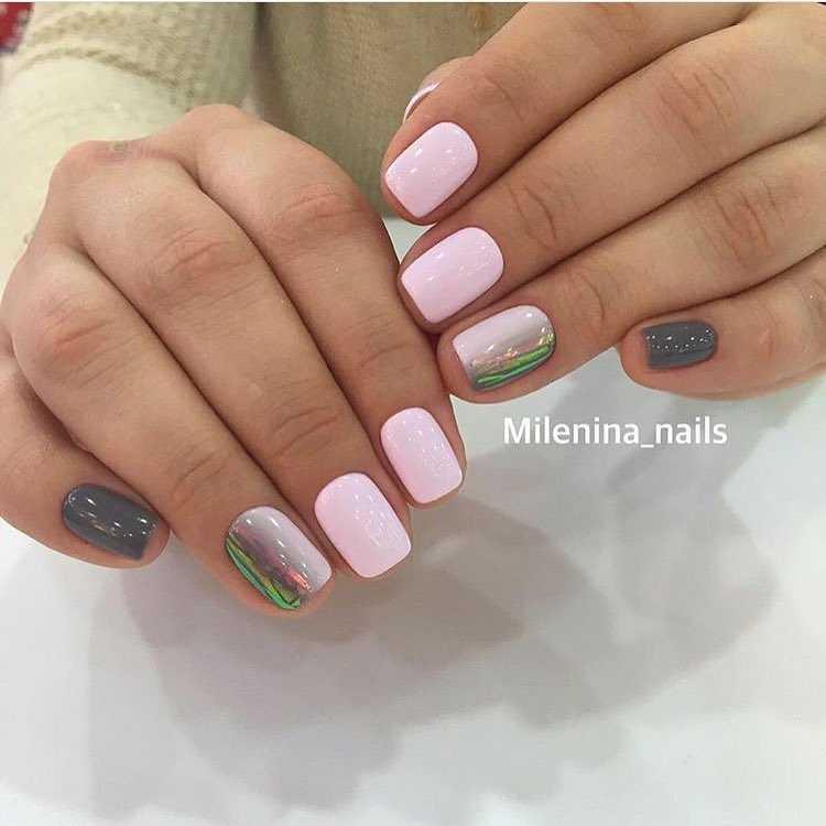 Ногти Серые С Розовым Рисунком