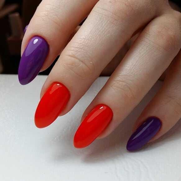 красно-фиолетовые ногти