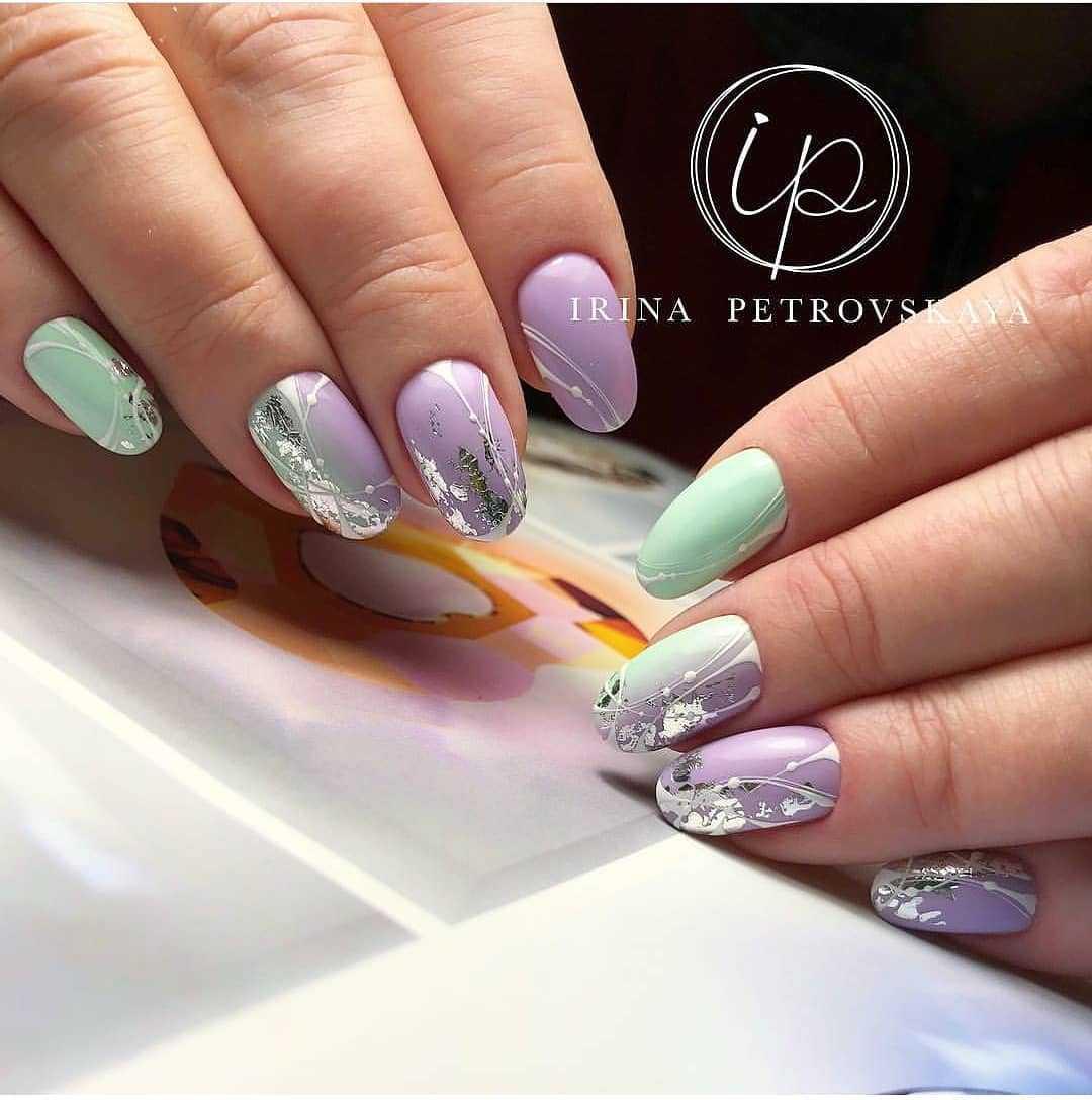 мятно-фиолетовые ногти