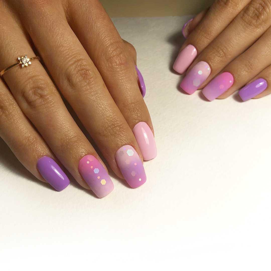сиренево-фиолетовые ногти
