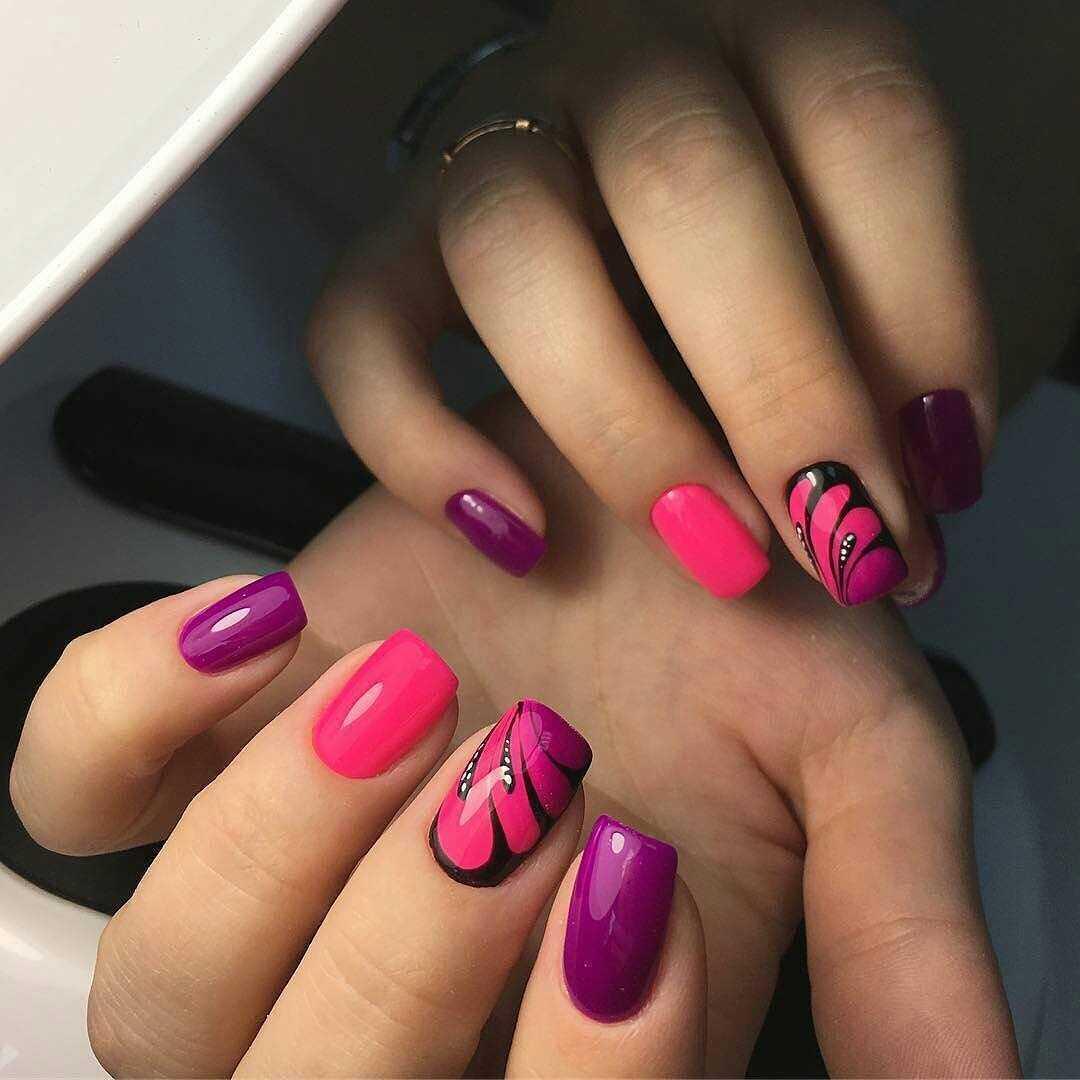 фиолетовые ногти с розовым