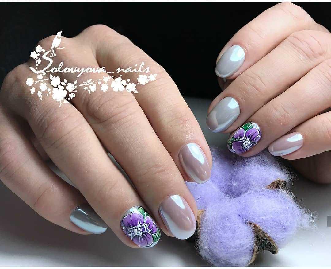 фиолетовые ногти с серебром