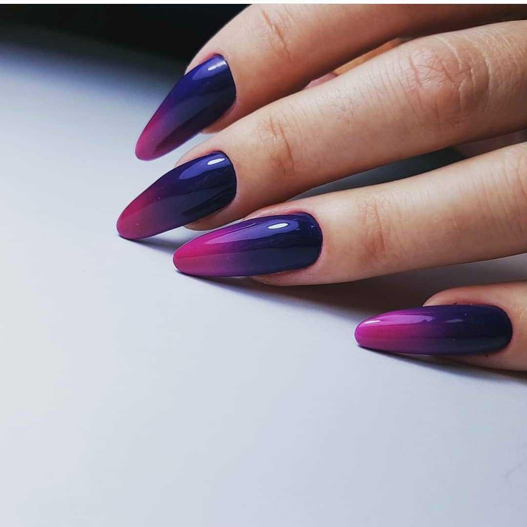 фиолетовые ногти с синим