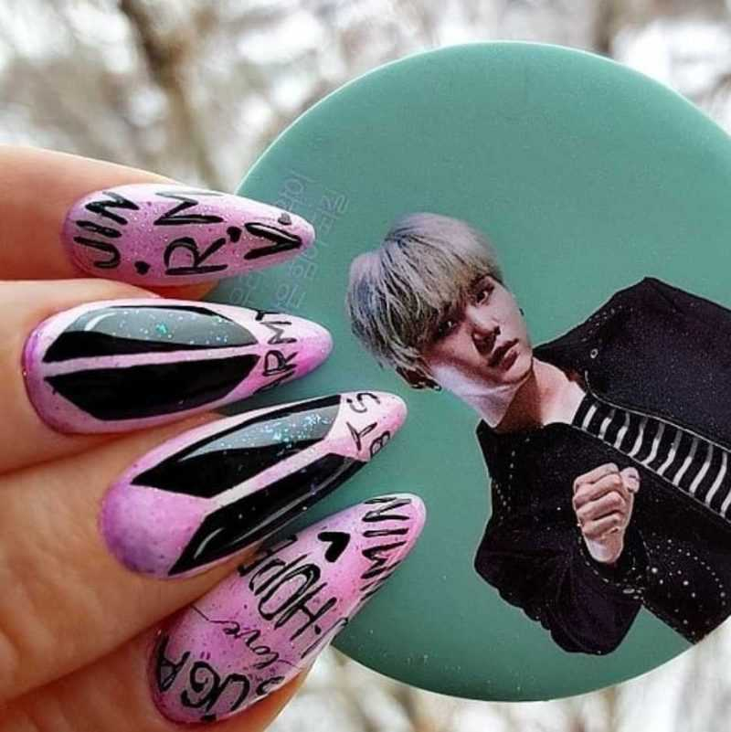 корейский маникюр на длинных ногтях